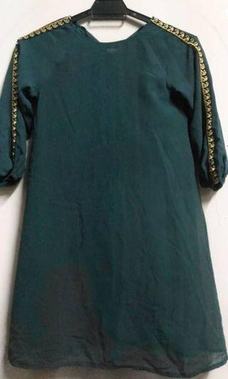 Jubah dress budak emerald green