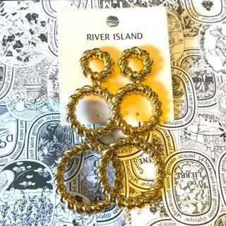 River Island Gold Dangly Ear Rings