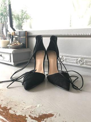 Black lace-up heels (size 8)