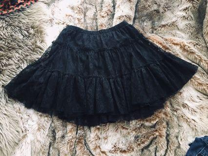 Black tulle and lace skirt