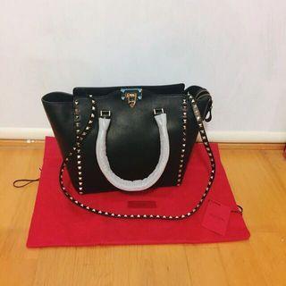 Valentino黑色 基本款 卯釘 手提肩背側背包包