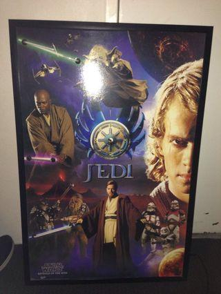 Star Wars movie poster in frame with neon lights