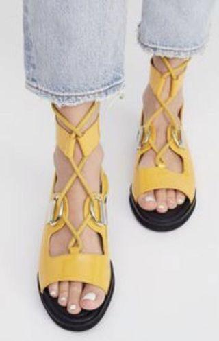 E8 Miista Yellow AVOCA Gladiator Sandals Size 8.5
