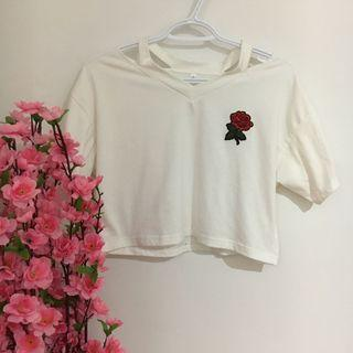 White shirt with Rose patch