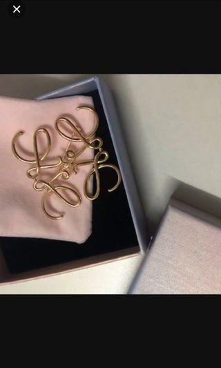 Loewe Designer Vintage Brooch Gold Logo