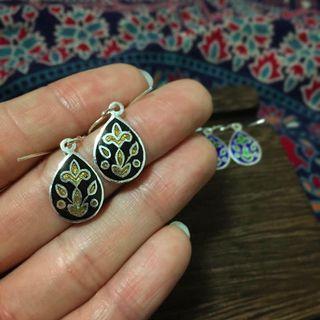 民族印度925銀手繪耳環