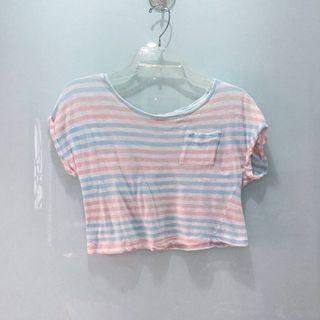 Cache Cache Striped Pastel Crop Top