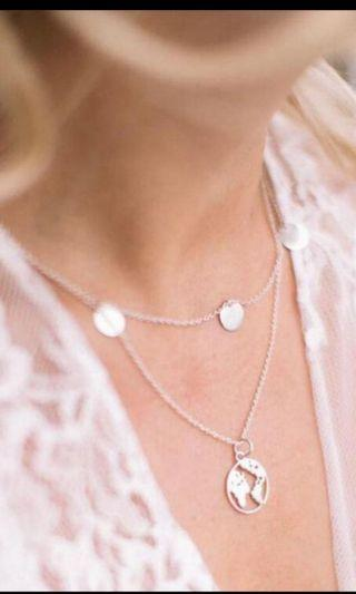 Silver Double layers world sequin necklace