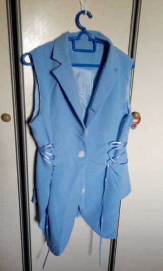 Baby blue uneven hemmed lace up Vest