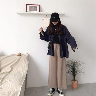 🚚 韓版 垂墜感 直筒褲  寬褲 闊腿褲 / 淺卡色
