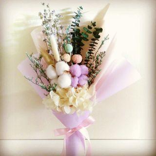 Preserved dried cotton lavender hydrangea eucalyptus flower bouquet