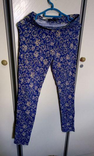 Printed blue jeggings tight jeans