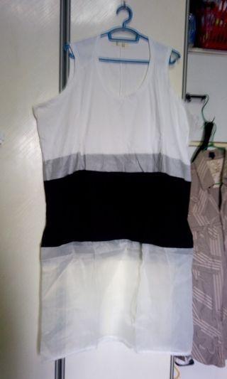 Plus sized organza stretchy tank dress