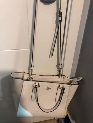 Coach used white handbag