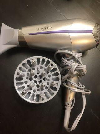 John Frieda Hair Dryer w/ 2 Attachments