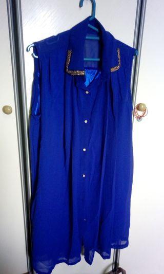 Electric blue pleated plus sized chiffon dress