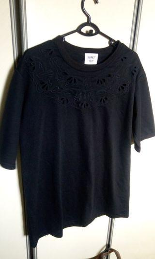 Plus sized embroidered cut out Black Top