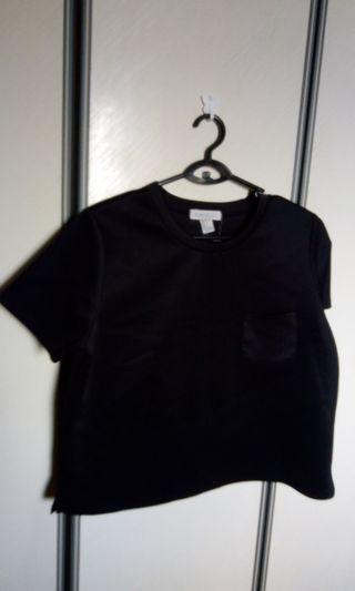 Plus sized neoprene black blouse