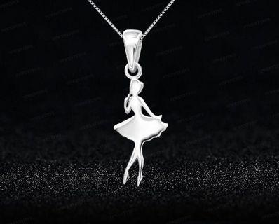 🚚 925 Sterling Silver Ballerina Dancer Necklace