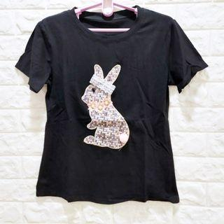☆棒棒糖童裝☆(180)夏女裝黑色韓版高工藝小兔上衣 L