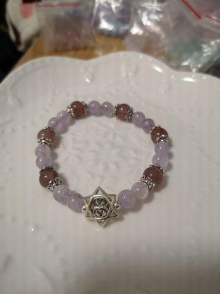 紫晶+草莓晶手鏈