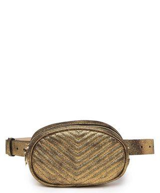 Steve Madden Chevron Metallic Leather Belt Gold