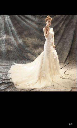 白色魚尾婚紗 大拖尾