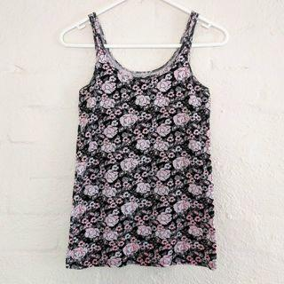 Black Tank Top with Pink Roses