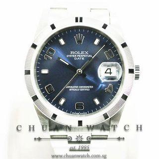 Pre-Owned Rolex Gents' Oyster Perpetual Date 34mm 15210 Blue Sunburst Index - Discontinued