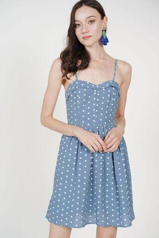 Trica Flap Dress in Blue Polka Dots