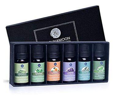 1 Set of 6 Lagunamoon essential oils for aromatherapy, diffuser, humidifier, Lavender, Orange, Peppermint, Tea Tree, Eucalyptus, Lemongrass
