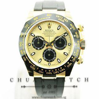Brand New Rolex Cosmograph Daytona Yellow Gold Oysterflex 116518LN Champagne 'Panda'