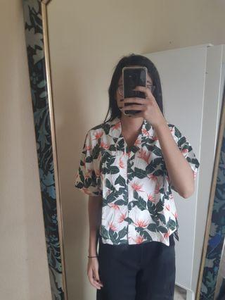 Kemeja Hawaii Floral Tropical Shirt Cotton Ink