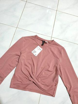H&M DIVIDED Crop Top Tied Pink hnm blouse crop tee