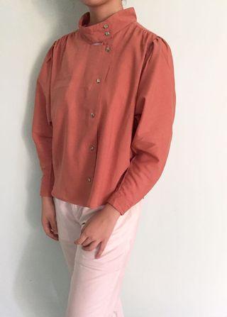brown high collar shirt