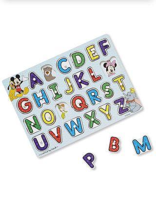 🚚 Melissa & Doug Disney Classics Alphabet Wooden Peg Puzzle (26 pcs)