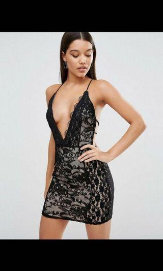 MISSGUIDED Lace Plunge Strappy Bodycon Dress Size 6