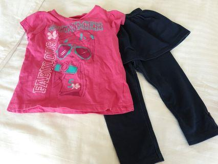 🚚 2 pcs for $5 Mothercare Toddler Girl T-shirt n dress pants set (Free Mailing)