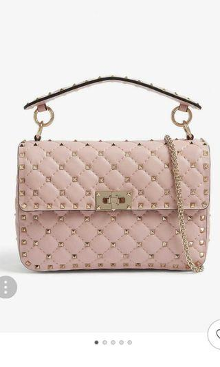 Valentino Rockstud Quilted Medium Leather Shoulder Bag Water Rose