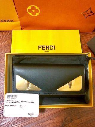 「全新膠未撕」Fendi新款眼睛對開扣長夾