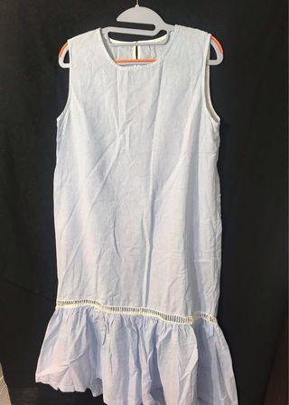 🚚 韓購入淺藍白條紋洋裝 荷葉襬