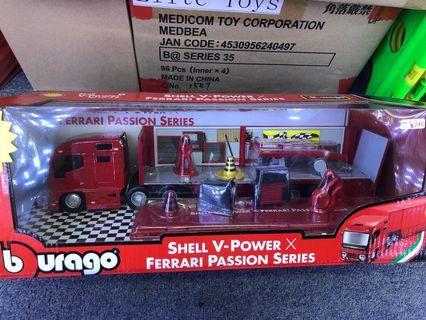Burago x Shell Ferrari Set toy Long Truck 法拉利x蜆殻石油 玩具長貨車套裝 可放3架車