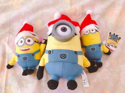 正品minions聖誕版公仔三隻