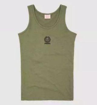 (包郵) 健身背心 軍裝部隊軍款素色印花男裝軍綠色背心純棉加大碼夏裝汗背心