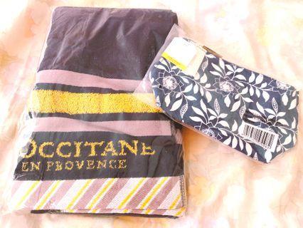 l'occitane 全新化妝袋及浴巾