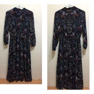 深藍色雪紡長袖洋裝花卉 navy floral dress long sleeve chiffon