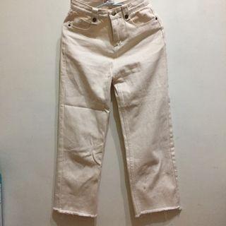 奶油白米色直筒天長褲寬褲 creamy white trousers