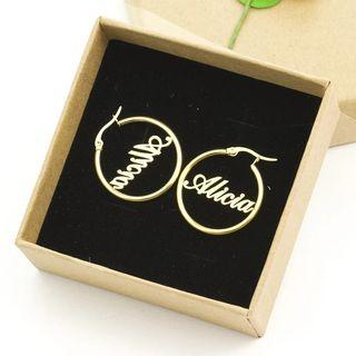 🚚 Preorder)20/25/30/70MM Name Hoop Earrings For Women Custom Name Earrings Fashion Jewelry Personalized Big Circle Old English Earrings(ai)