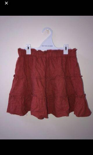 GLASSONS TIERED RED SKIRT