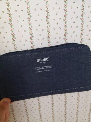 日本anello長夾皮夾 卡夾多夾層  深藍